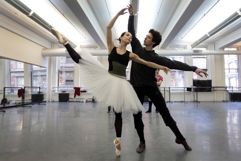 """American Ballet Theatre's Diana Vishneva, who will portray opening-night Aurora, and Thomas Forster get into step for the """"Sleeping Beauty"""" premiere."""
