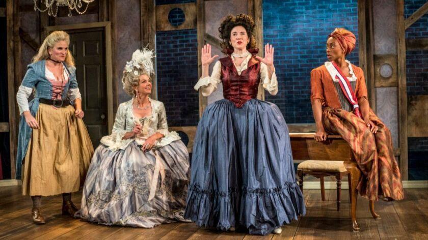 "Samantha Ginn, Lisel Gorell-Getz, Jo Anne Glover and Cashae Monya (from left) in Moxie Theatre's ""Th"