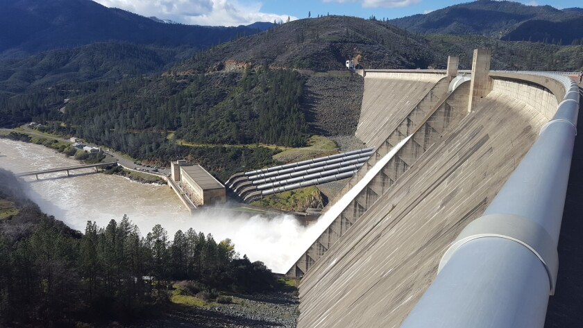 For the first time in almost two decades, water was released in February 2017 from the topmost gates of the Shasta Dam.