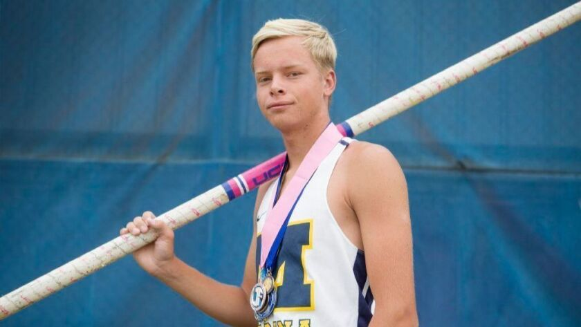 Marina boys' pole vaulter Skyler Magula, seen on June 29, has signed with the Cal men's track and field program. The senior is a returning state medalist in boys' pole vault.