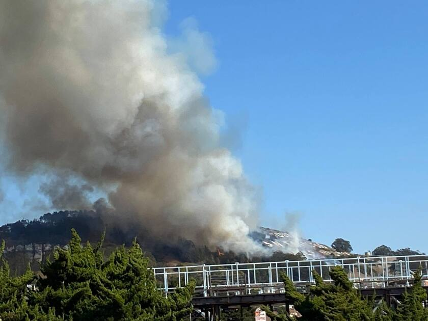 A brush fire erupted at South San Francisco's Sign Hill on Friday afternoon.