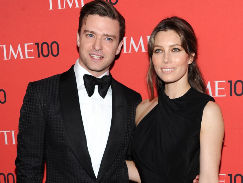 Justin Timberlake and Jessica Biel, attend the TIME 100 Gala in New York. Timberlake shared a picture of a bulging belly - presumably belonging to wife - on Instagram.
