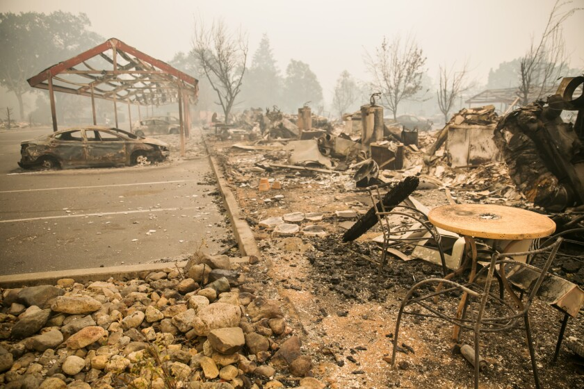 The Valley fire destroyed an apartment complex in Middletown, Calif., on Sunday.