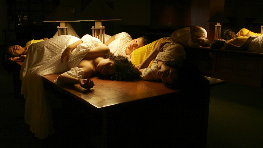 "A still from ""Apariciones / Apparitions"" by Carolina Caycedo, with Marina Magalhães and David de Rozas"