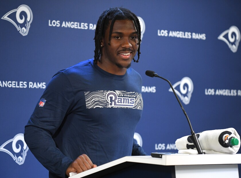 Rams cornerback David Long Jr. answers questions from the media on in Thousand Oaks.