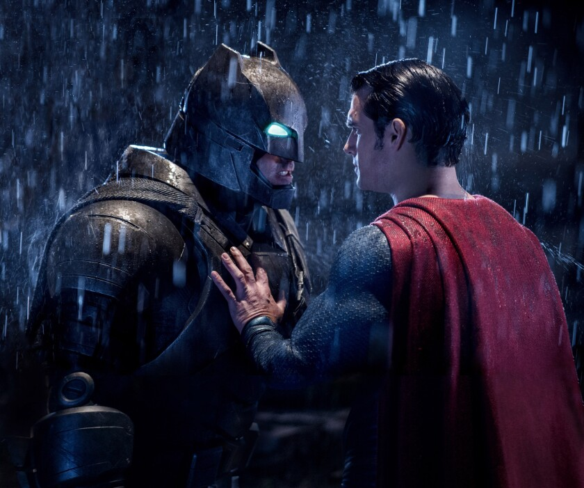 """Ben Affleck as Batman, left, and Henry Cavill as Superman in a scene from """"Batman V. Superman: Dawn Of Justice."""""""