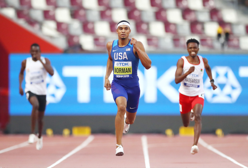 Michael Norman competes in the 400 meters at the IAAF World Athletics Championships.