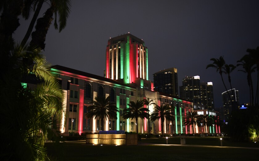 The San Diego County Administration Building is lit in honor of Juneteenth Friday, June 19, 2020 in San Diego