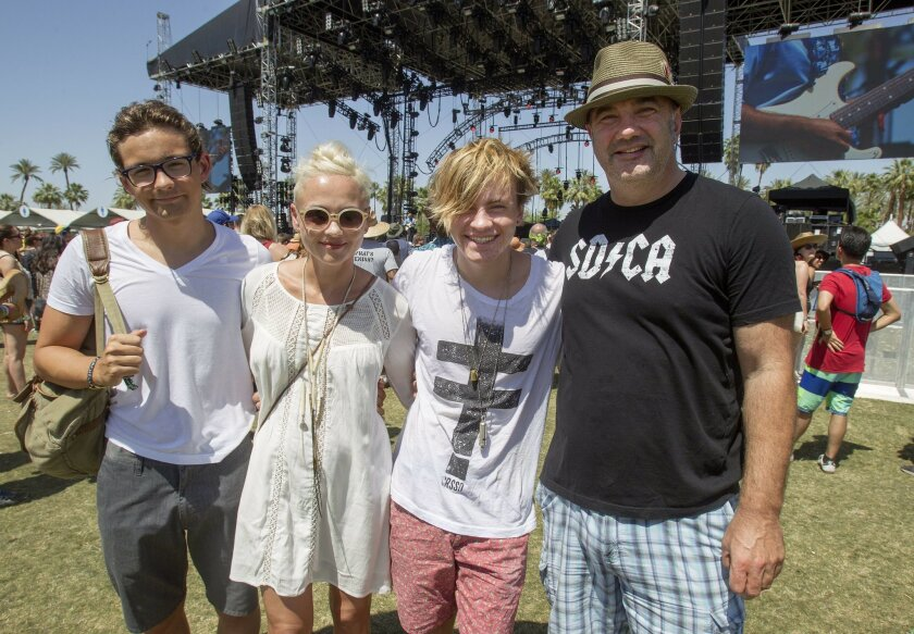 Day three of the 2015 Coachella Valley Music and Arts Festival . From San Diego, the Arthur Family LtoR Alex, Michele, Austin and Jules have been coming to Coachella as a family for the last five years.