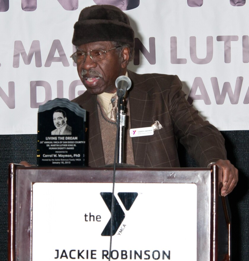 Carrol Waymon, accepting the Human Dignity Award from San Diego's Jackie Robinson YMCA in 2013.