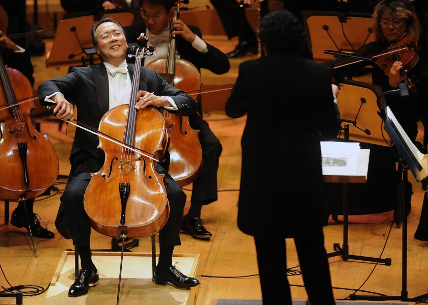 Cellist Yo-Yo Ma performs with the Los Angeles Philharmonic at Walt Disney Concert Hall in 2013.
