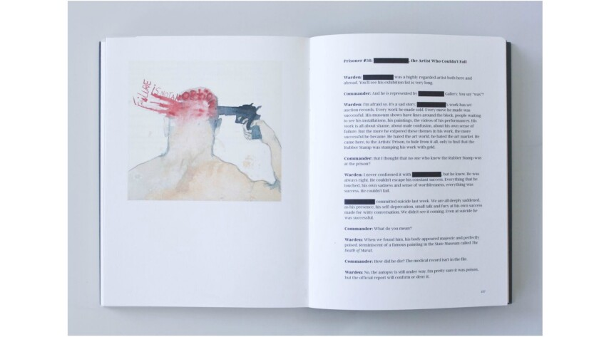 """Spread from """"The Artists' Prison,"""" including Prisoner #38 by Eve Wood."""