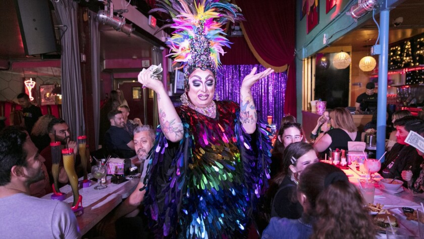 LOS ANGELES, CALIFORNIA - May 18, 2019: A performer entertains guests during brunch and drag show a