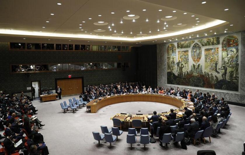 Vista general del Consejo de Seguridad de las Naciones Unidas (ONU) en el marco del 73 periodo de sesiones de la Asamblea General de la ONU, en la sede de la ONU en Nueva York, Estados Unidos, el 26 de septiembre de 2018. EFE/Archivo