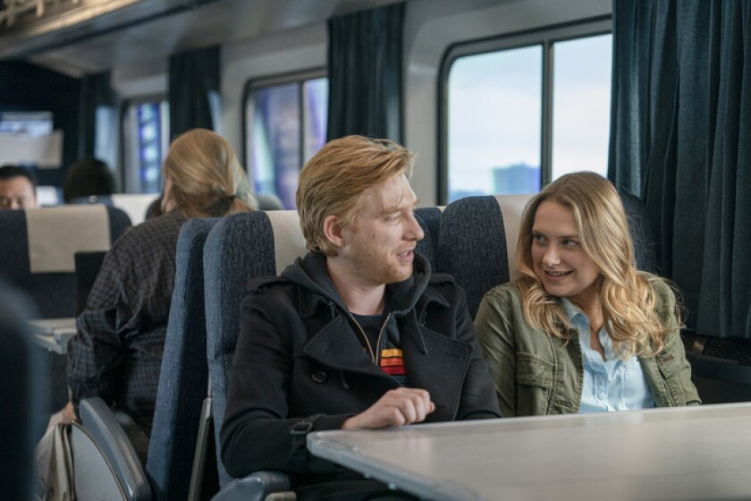 "Domnhall Gleeson and Merritt Wever in ""Run."""