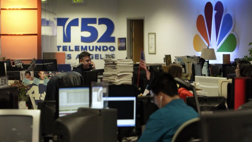 BURBANK, CA. NOV. 29, 2012: Telemundo local news station, KVEA Channel 52 shares it newsroom with KN