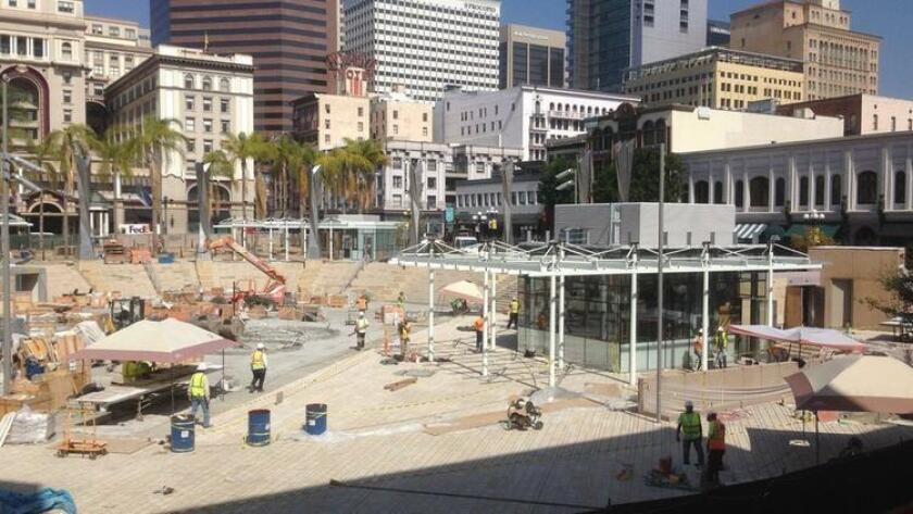 Construction nears completion at Horton Plaza Park where a new amphitheater and retail kiosks will be added to the historic park. (/ Roger Showley)