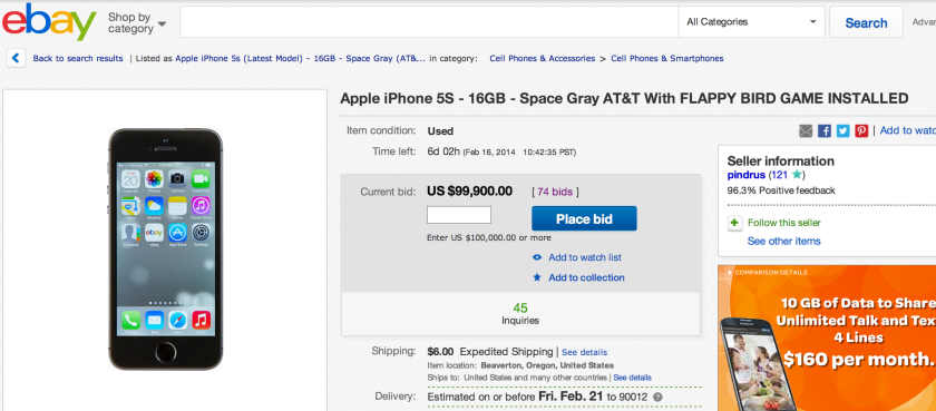 EBay cancels auction of $99,900 iPhone with Flappy Bird