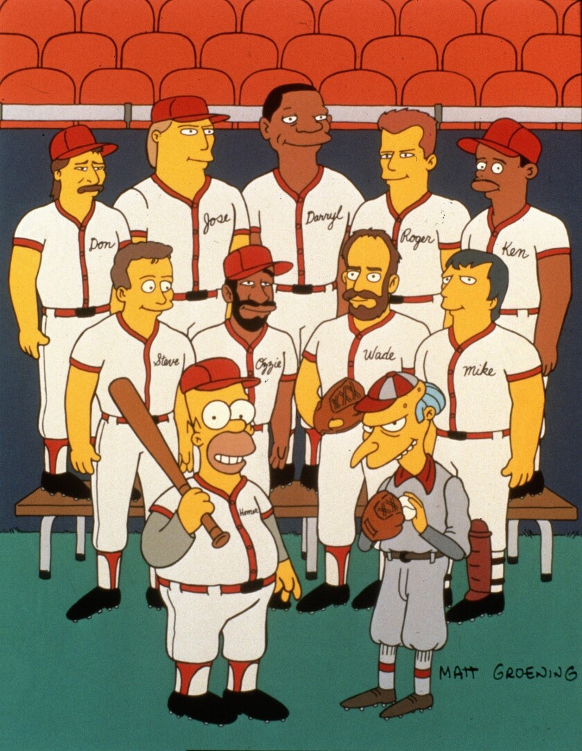 """(L-R top row:) Don Mattingly, Jose Canseco, Darryl Strawberry, Roger Clemmons, Ken Griffey, Jr. (L-R middle row:) Steve Sax, Ozzie Smith, Wade Boggs, Mike Scioscia, (L-R bottom row:) Homer and Mr. Burns on the """"Homer At The Bat"""" episode of The Simpsons."""