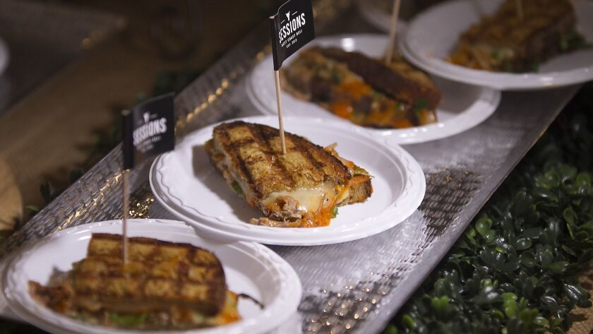 The quint, a special grilled cheese sandwich from Sessions West Coast Deli, is served during the the