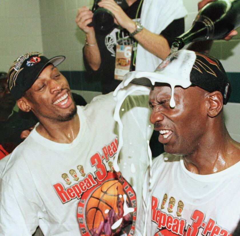 Dennis Rodman and Michael Jordan of the Chicago Bulls.