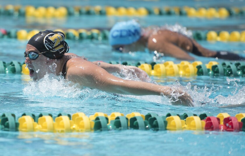 Fountain Valley's Hannah Farrow swims butterfly during the individual medley final, in which she won
