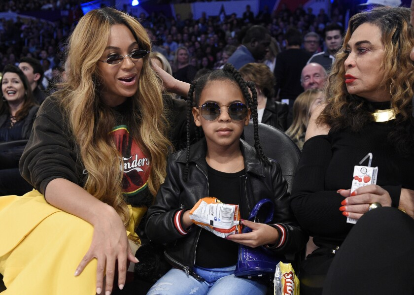 Beyoncé, left, with Blue Ivy Carter and Tina Knowles in 2018