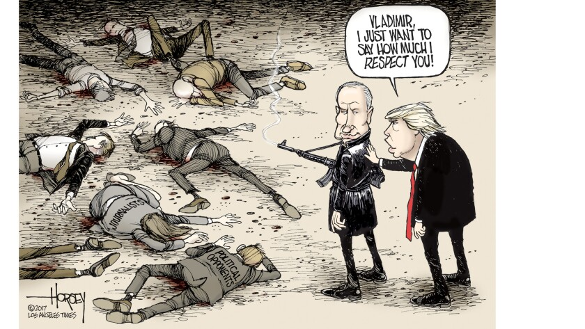 The president of the United States rationalizes Putin's political murders.