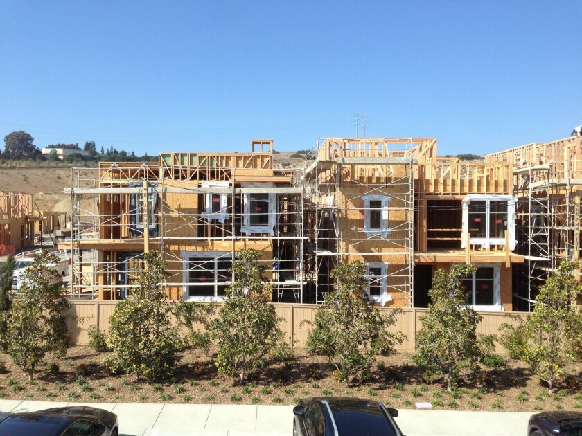 Construction on a new for-sale homes continues at Civita in Mission Valley.