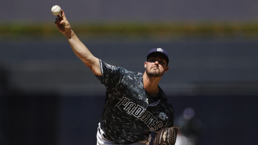 San Diego Padres starting pitcher Jacob Nix works against a Texas Rangers batter during the first in
