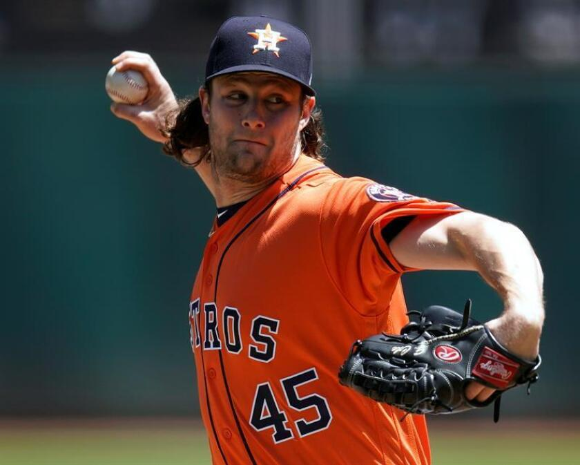 En la imagen, el jugador de los Astros de Houston Gerrit Cole. EFE/Archivo