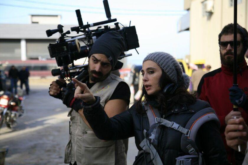 "Director Nadine Labaki on the set of ""Capernaum."""