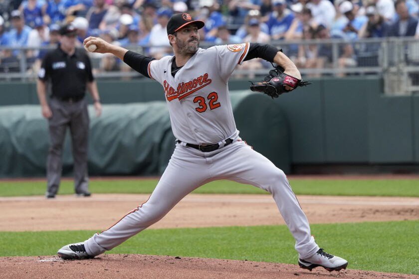 Baltimore Orioles starting pitcher Matt Harvey delivers to a Kansas City Royals batter during the first inning of a baseball game at Kauffman Stadium in Kansas City, Mo., Sunday, July 18 2021. (AP Photo/Orlin Wagner)