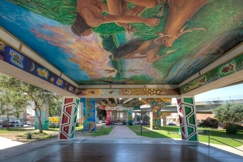 "Grand Orchid: Chicano Park Restoration. Jury comments: ""The fact that the murals represent a space and not a building, as the center of culture, makes an important statement, especially given its location beneath the Coronado Bridge. In this case, these murals are a part of the unique cultural heritage of the city and provide a sense of pride for the neighborhood of Barrio Logan."" Photography by Ramon Purcell"
