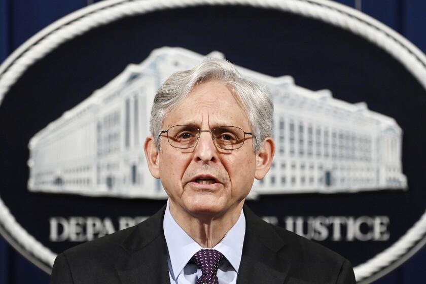 ARCHIVO - En esta foto del 26 de abril del 2021, el secretario de Justicia de Estados Unidos Merrick Garland