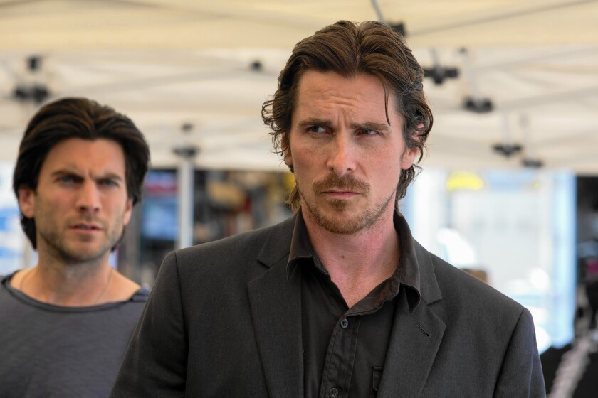 """Wes Bentley, left, and Christian Bale in """"Knight of Cups."""""""