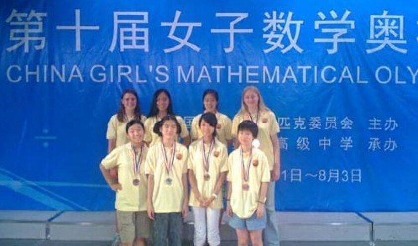Sarah Herrmann, back row at right, just returned from a math competition in China. Courtesy: Mathematical Sciences Research Institute