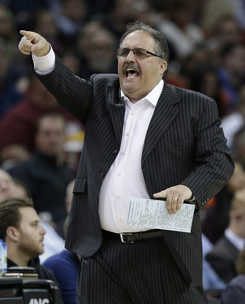 Detroit Pistons' head coach Stan Van Gundy yells to players in the first half of an NBA basketball game against the Cleveland Cavaliers, Monday, Feb. 22, 2016, in Cleveland. The Pistons won 96-88. (AP Photo/Tony Dejak)