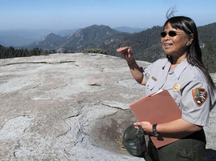 Sequoia National Park air resource specialist Annie Esperanza explains how ozone diminishes the view from Beetle Rock.