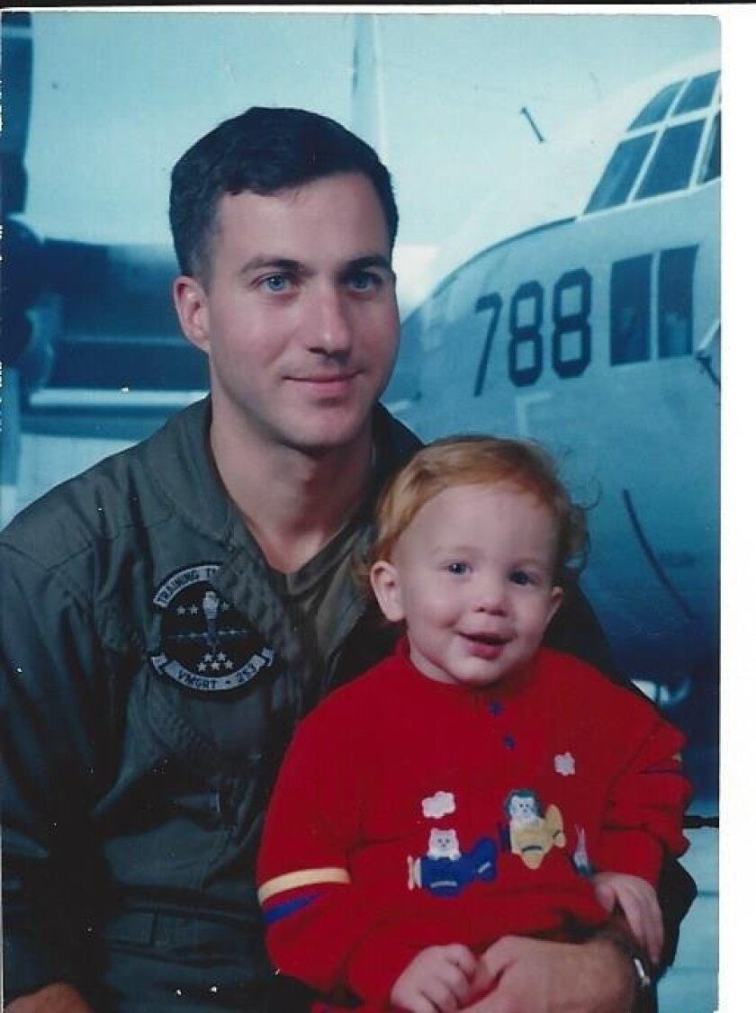 Marine Lt. Col. John Brow with one of his sons