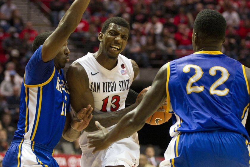San Diego State vs McNeese State Mens Basketball at Viejas Arena on the campus of San Diego State. Winston Shepard drives to the basket in the second half.