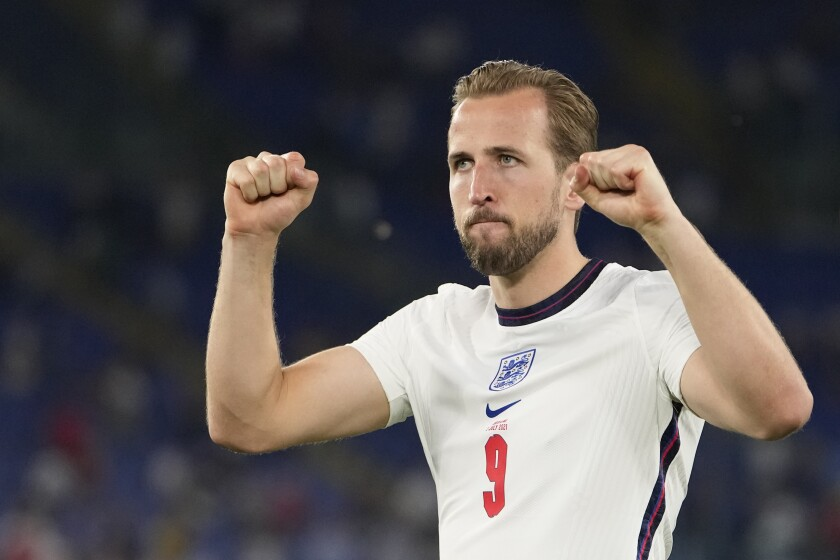 Harry Kane, who scored two goals, celebrates after England beat Ukraine in a Euro 2020 quarterfinal match July 3, 2021.