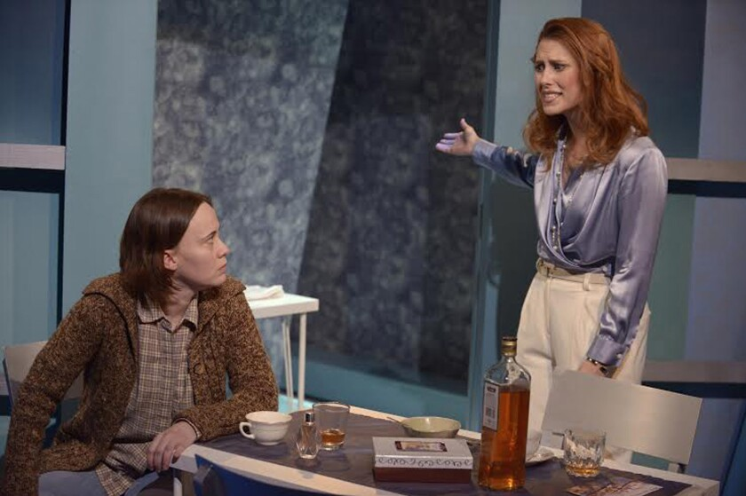 """Karianne Flaathen, left, and Sally Hughes in a scene from Antaeus Company's """"Top Girls."""""""