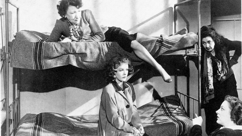"""Sally Forrest, center, seated on lower bunk, in the 1949 movie """"Not Wanted,"""" directed by Ida Lupino."""