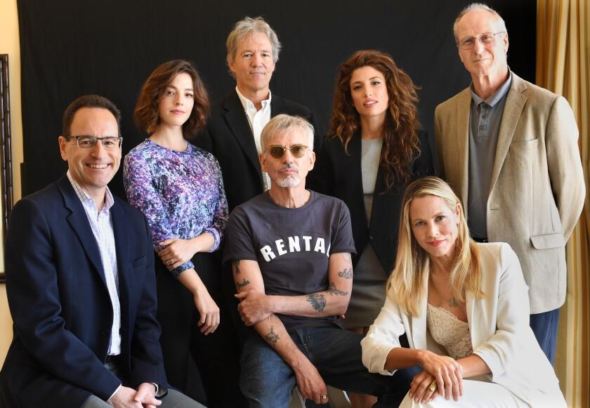 "The cast and creators of Amazon's legal drama ""Goliath,"" from left, Jonathan Shapiro, Olivia Thirlby, David E. Kelley, Billy Bob Thornton, Tania Raymonde, Maria Bello and William Hurt."