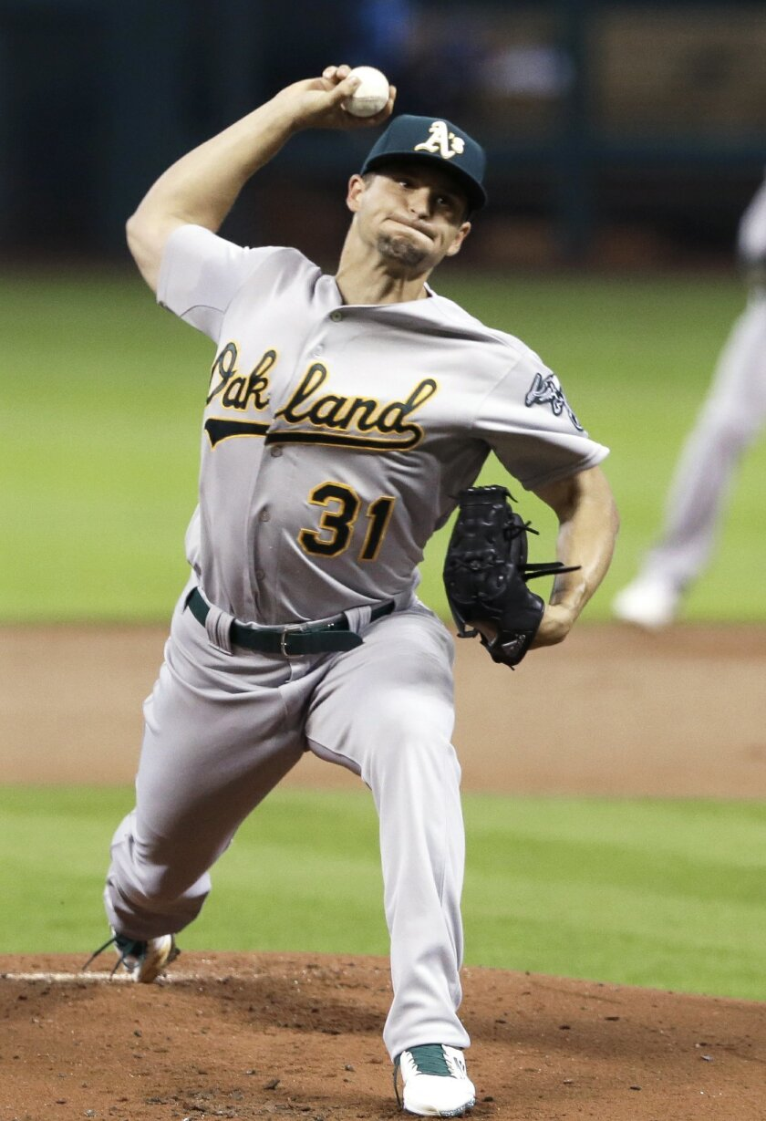 Oakland Athletics' Kendall Graveman delivers a pitch against the Houston Astros in the first inning of a baseball game Tuesday, April 14, 2015, in Houston. (AP Photo/Pat Sullivan)