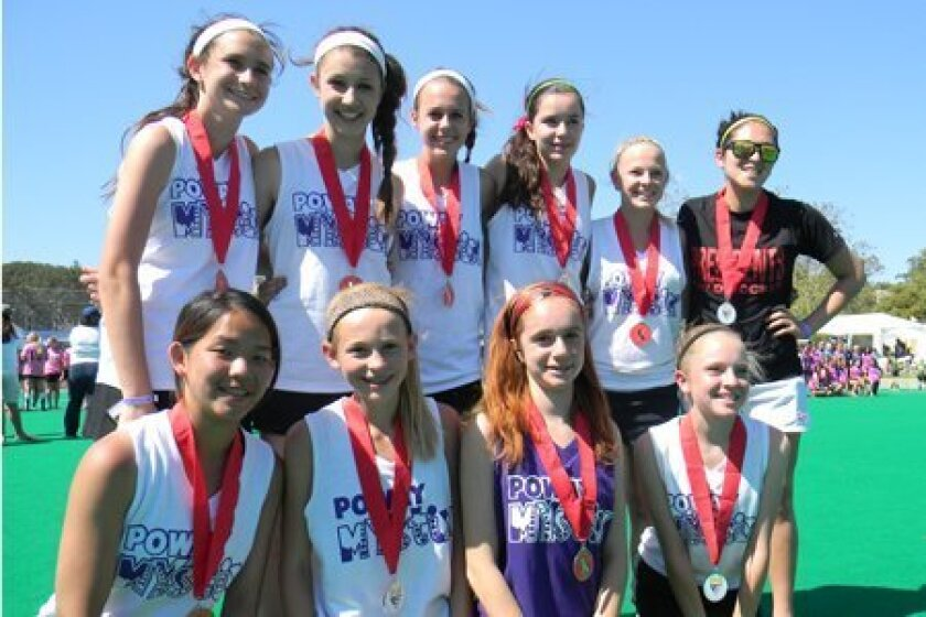Mystix Cal Cup silver medalists. Back row (left to right): Gabi Jimenez, Dani Jackel, Gabi LeRose, Meaghan Donnelly, Morgan Patenude and Coach Kat Villa. Front row (left to right): Rachel Liaw, Shannon Yogerst, Gia Silahian and Lauren Whitney.