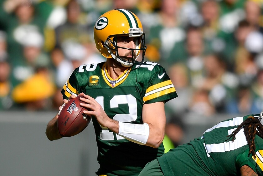 Green Bay Packers quarterback Aaron Rodgers looks to pass the ball against the Oakland Raiders on Oct. 20.