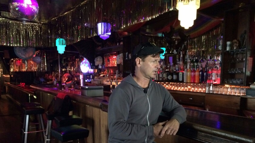 Bar owner Michael McElhaney is interviewed at The Stud in San Francisco on Tuesday.