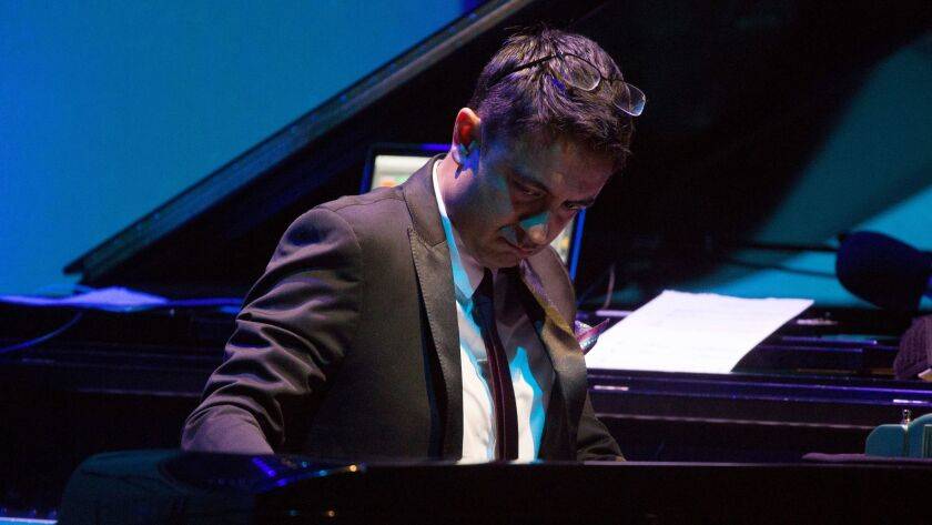 Vijay Iyer on a Rhodes electric piano at the 2017 Ojai Music Festival's opening night.